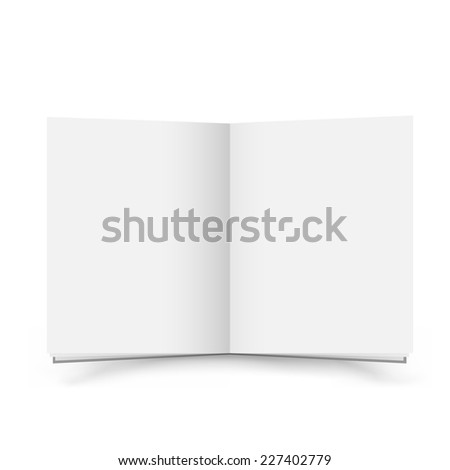 The open blank book with shadow on the white background