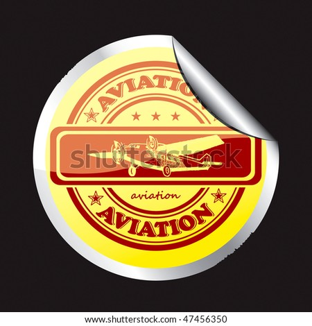 The original sticker with the image plane. - stock vector
