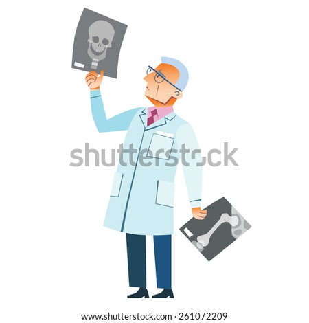 The orthopedic doctor examines an x-ray of a fracture of the skull medicine health - stock vector