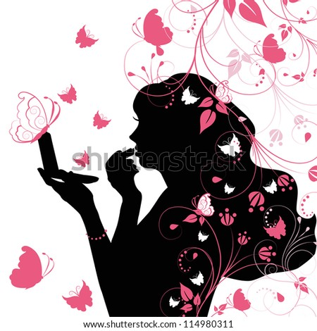 The outline of a beautiful girl with makeup - stock vector