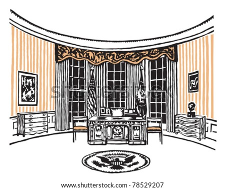 The oval office of the president of the United States in the white house - stock vector