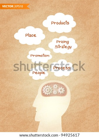 The 6 P's Of Marketing - stock vector