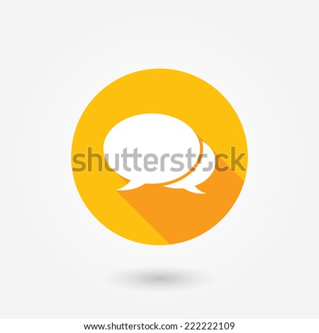 The pair of speech bubbles. Flat icon with long shadow. Social icons - stock vector