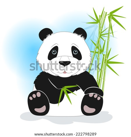 The panda sits with bamboo leaves on a white background, behind bamboo stalks, vector illustration - stock vector
