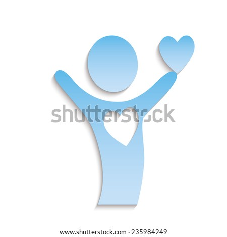 The paper person holds heart. The love concept. - stock vector