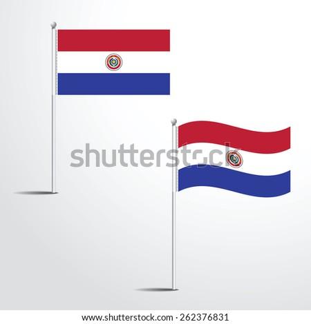 The Paraguay flag normal and waving flag set | Usa abstract flag vector eps 10 - stock vector