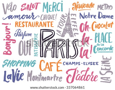 The Paris typographical poster for your design. Tourist attractions, places to visit and french words. - stock vector