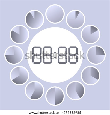 the passage of time on the gray dial electronic and analog clock - stock vector
