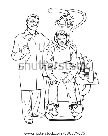 The patient on examination at the dentist. Doctor dentist. Dental surgeon. Reception was at the dentist. Dentist smiling. Pleased with patient in the chair. Dental treatment. Dental Health. Vector  - stock vector