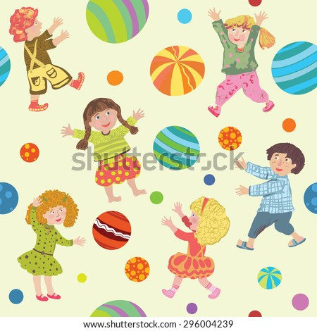 The pattern cheerful cute kids in bright clothes play colorful balls