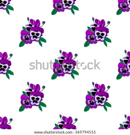The pattern of a small bouquet of beautiful and delicate violets on a white background. - stock vector