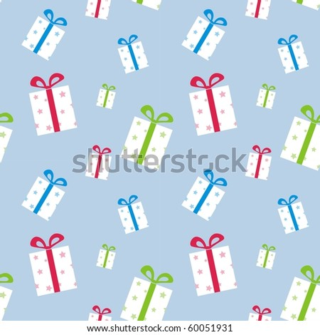 The pattern of boxes with gifts with colorful ribbons