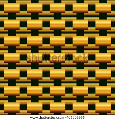 The pattern of gold on a green background, is made up of geometric shapes rectangles - stock vector