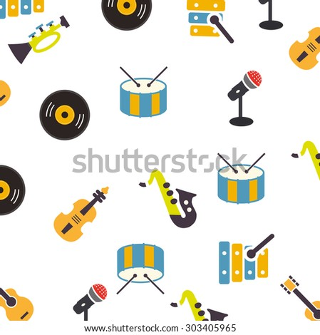 the pattern of musical instruments on a white background - stock vector