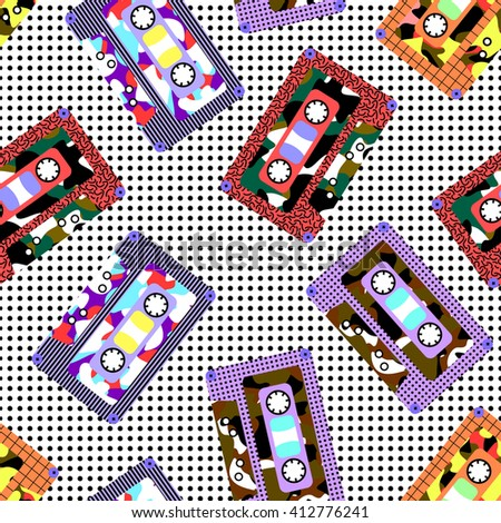 The pattern of several bright floral music cassettes, with dots of a background, in a Memphis style, 80s, 90s