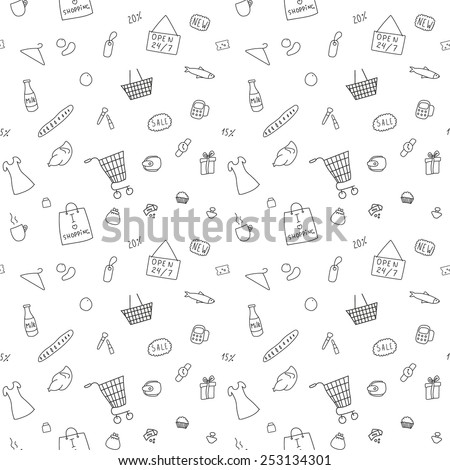 The pattern of the items from the shopping - stock vector