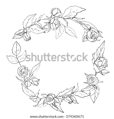 the pattern wreath of roses, drawn by hand a beautiful wreath of flowers on a white background, hand drawing vector illustration - stock vector