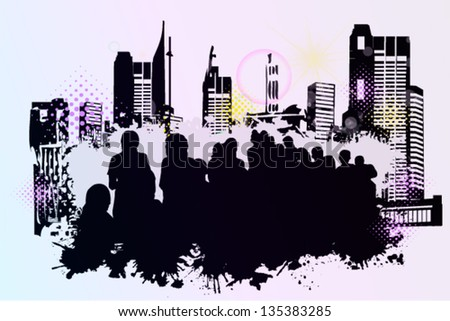 The people of the city. crowd - stock vector