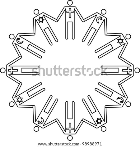 The people of three religions hold hands - stock vector