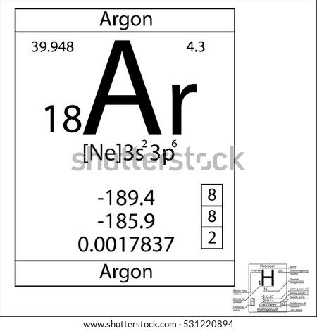 Periodic Table Element Argon Basic Properties Stock Vector ...