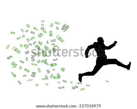 The person escapes from surplus of money - stock vector