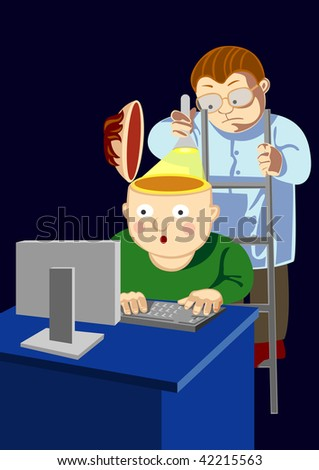 The person sits at the computer and the scientist looks to it in a head, highlighting itself a small lamp