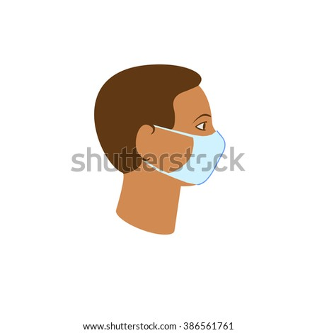 The person wearing a healthcare mask on white.Vector illustration - stock vector