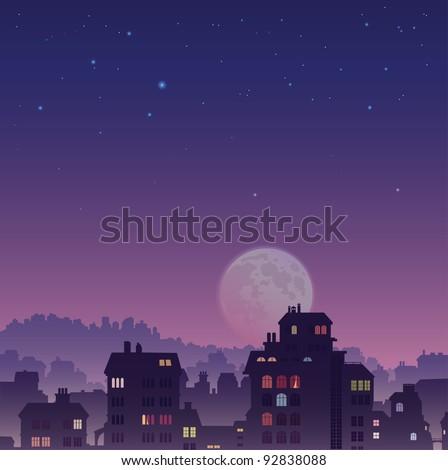 The perspective view of the big old city by night - stock vector