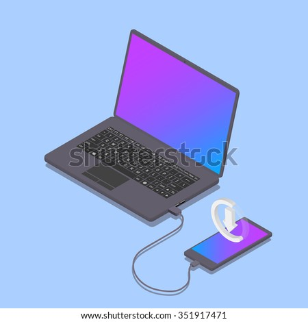 The phone is connected to the laptop. Charger. Download the data to your smartphone. Laptop and phone in an isometric view. Vector illustration.
