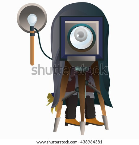 The photographer produces portrait photography on a vintage camera. Vector illustration.
