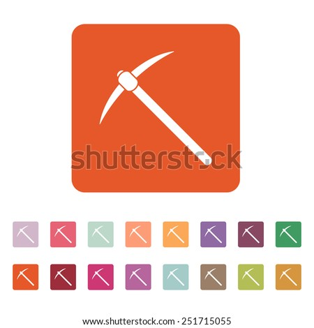 The pick icon. Pickax symbol. Flat Vector illustration. Button Set - stock vector