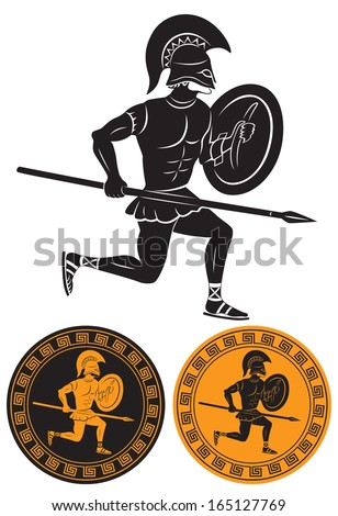The picture shows a gladiator with a spear - stock vector