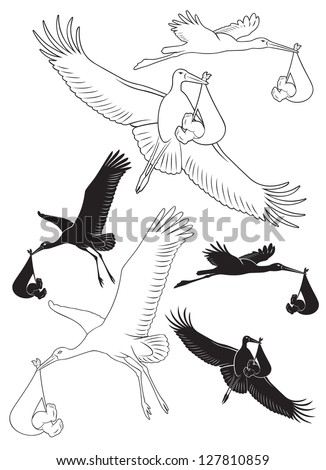 The picture shows a stork with a baby - stock vector