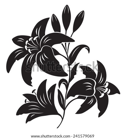 The picture shows the silhouette of a lily - stock vector