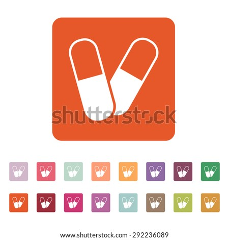 The pill icon. Tablet and antibiotic, vitamins symbol. Flat Vector illustration. Button Set - stock vector