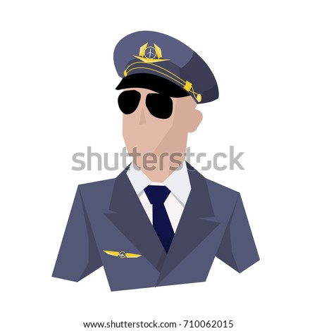 the pilot of the aircraft pilot in blue cap and glasses