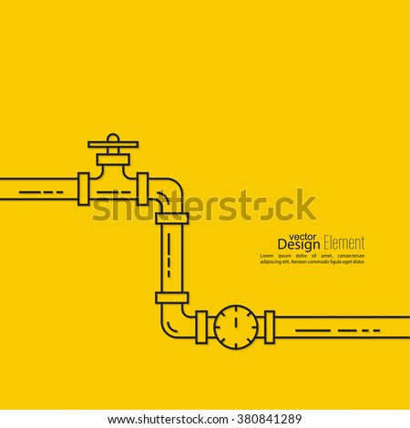 The pipeline with a stopcock. Vector illustration lineart. - stock vector