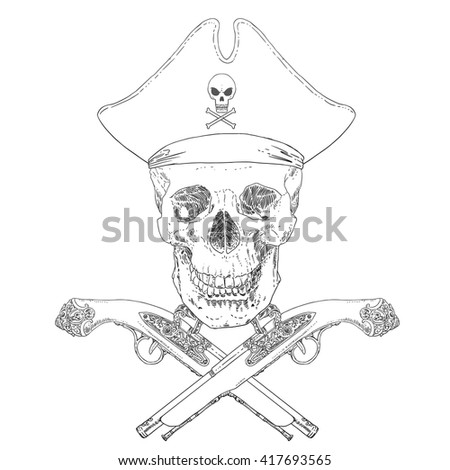 The Pirate Skull Jolly Roger. The vector image of piracy skull. Piracy flag with skull, hat and crossed pistols. Vector illustration. - stock vector