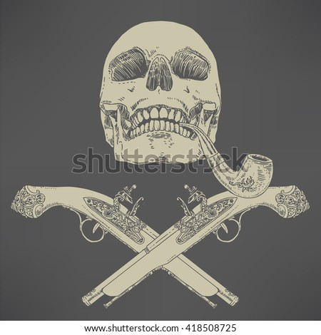 The Pirate Skull Jolly Roger. The vector image of piracy skull. Piracy flag with skull, hat, and crossed pistols. Vector illustration. - stock vector