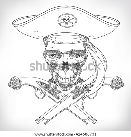 The Pirate Skull Jolly Roger. The vector image of piracy skull. Piracy flag with skull, hat and pistols. Vector illustration. - stock vector