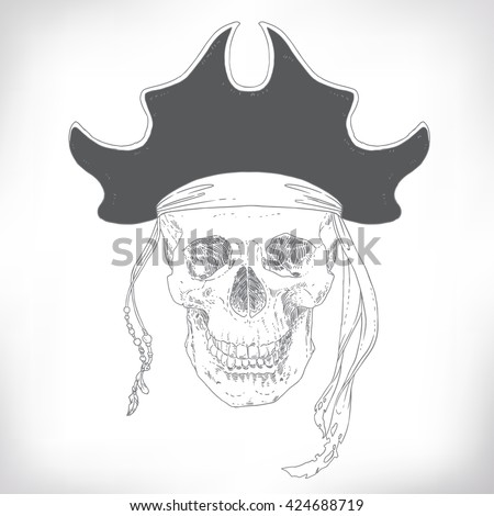 The Pirate Skull Jolly Roger. The vector image of piracy skull. Piracy flag with skull in a hat. Vector illustration. - stock vector