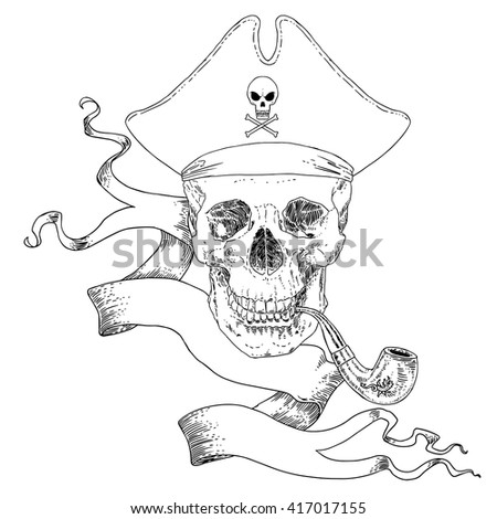 The Pirate Skull Jolly Roger. The vector image of piracy skull. Piracy flag with skull,  ribbon, hat and pipe. Vector illustration. - stock vector