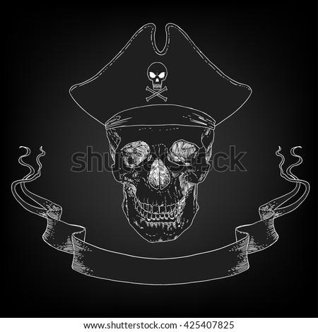 The Pirate Skull Jolly Roger. The vector image of piracy skull. Piracy flag with skull,  ribbon, hat. Vector illustration. - stock vector