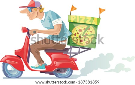 The pizza delivery boy in a baseball cap is riding the retro scooter.