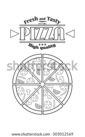 The pizza logo.Badges of pizza on a white background.Template logo for your pizza. - stock vector