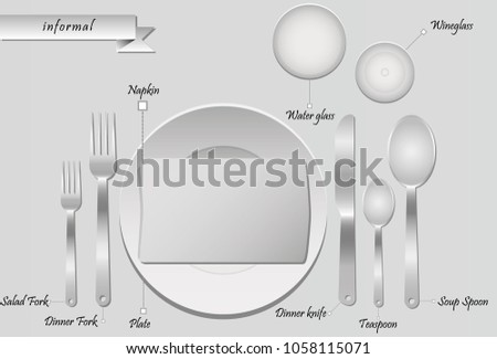The Plan For The Cutlery On The Table On Grey Background. Informal Table  Setting.
