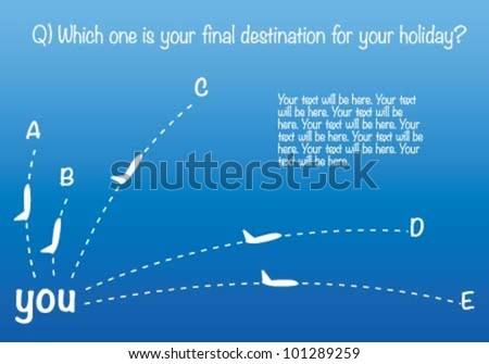 The plane goes from A to B - stock vector