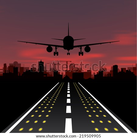 The plane is taking off at sunset and night city. Vector illustration - stock vector