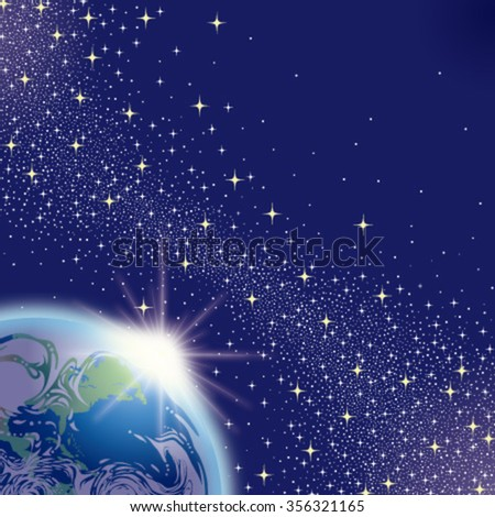 The Planet Earth in Space - stock vector
