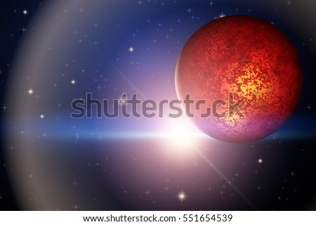 The Planet Mars and bright star in space. Abstract scientific background. Editable Vector Illustration.